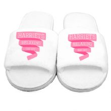 Pink Banner Velour Slippers